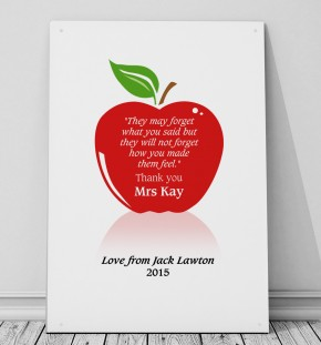 Personalised Teachers apple metal sign