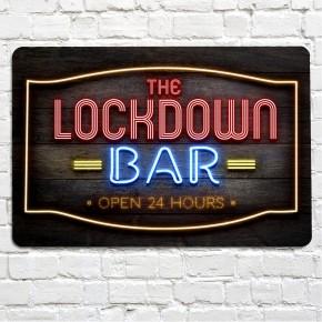 The Lockdown bar red neon bar sign
