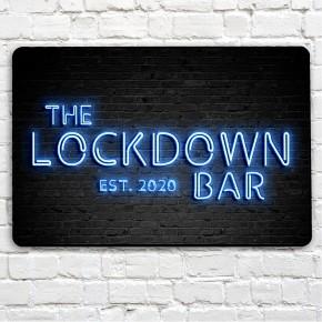 The Lockdown Bar blue neon sign