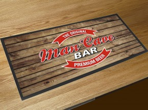 Man Cave beer label bar runner counter mat wood effect