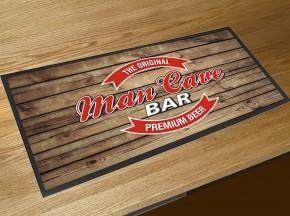 Man Cave beer label bar runner counter mat wood effect