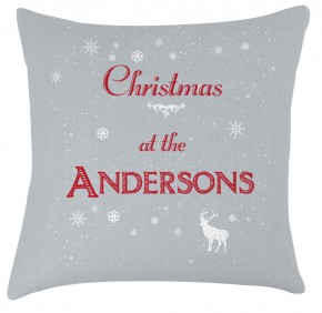 Personalised christmas cushion silver grey