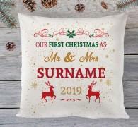 1st christmas as mr & mrs cushion