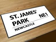 St James' park football street sign bar runner