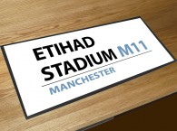Etihad stadium football street sign bar runner
