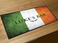 Personalised Irish flag text bar runner mat
