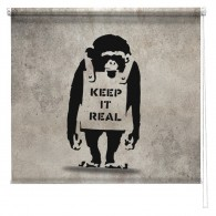 Banksy graffiti printed blind Chimp