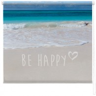 Be Happy quote seascape blind