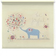 Be Joyful elephant printed blind, a beautiful print of an illustration by the artist Kim Anderson