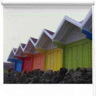 Beach huts printed blind