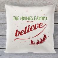 Christmas cushion, personalised believe cushion