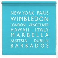 personalised bus blind printed roller blind BLUE