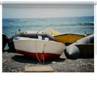 Boats on a beach printed blind