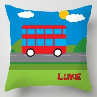 Childrens personalised bus cushion