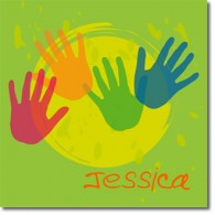 Personalised hands childrens canvas art