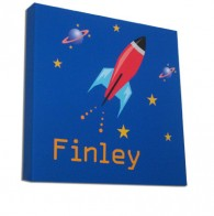 Personalised space rocket childrens canvas art
