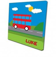 Personalised bus childrens canvas art