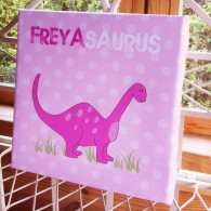 Personalised Dinosaur pink childrens canvas art