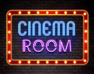 Cinema Room neon poster print or canvas