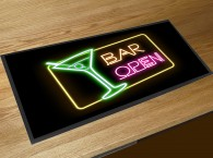 Bar Open Neon Cocktail bar runner mat