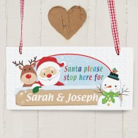 Rooftop Santa- Stop Here Wooden Christmas Sign