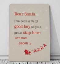 Personalised Dear Santa metal wall sign great christmas idea