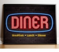 Diner neon print canvas, poster