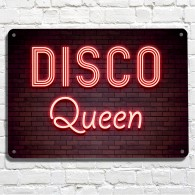 Disco Queen neon brick wall metal sign
