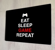 Eat sleep game repeat metal sign