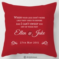 Personalised First Dance lyrics wedding cushion