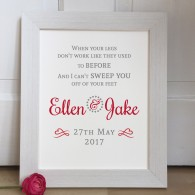 Personalised First Dance 2 lines quote Wedding Lyrics wedding gift print