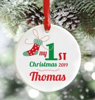 Personalised Babys First Christmas decoration, stocking