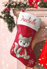Personalised Christmas Deluxe Stocking, Cute Fox