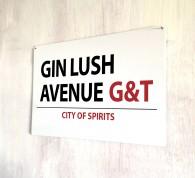 Gin Lush Avenue metal street Sign