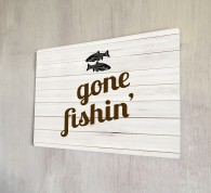 Gone Fishing metal sign