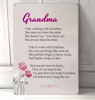 Grandma poem metal sign