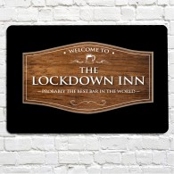 The Lockdown Inn wood effect bar sign