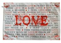 LOVE songs tea towel