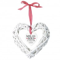 Mr & Mrs Wicker Heart personalised Decoration