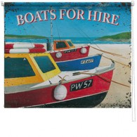 Boats for hire printed blind martin wiscombe