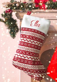 Personalised Christmas Deluxe Stocking, Nordic pattern