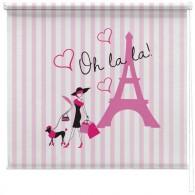 Paris pink stripe printed blind