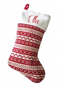 Personalised Christmas Deluxe Stocking, Nordic knit pattern
