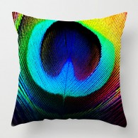 Bright Peacock Feather cushion