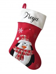 Personalised Christmas Deluxe Stocking, Penguin