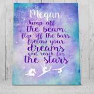 Personalised Gymnastics quote Jump off the beam Poster - Sign - canvas