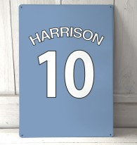 Personalised light blue football shirt Sign