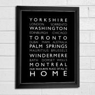 personalised destination bus blind word art print