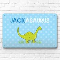 Personalised Dinosaur children's metal door wall sign