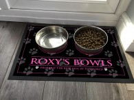 Personalised Dog feeding mat, gold text